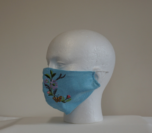blue denim face mask with embroidery